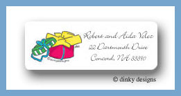 Packages, fushia return address labels personalized