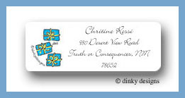 Packages, turquoise return address labels personalized