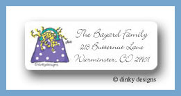 Packages, purple return address labels personalized