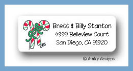Candy cane duo return address labels personalized