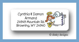 Cherub with harp return address labels personalized