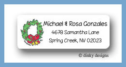 Christmas wreath return address labels personalized
