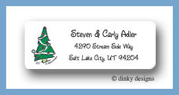 Prancing pines, green return address labels personalized