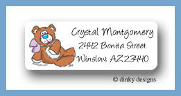 Candy cane characters, teddy return address labels personalized