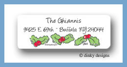 Candy cane characters, holly string return address labels personalized
