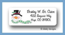 Smiling snowman return address labels personalized