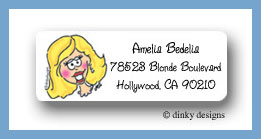 Blond bride return address labels personalized