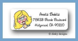 Blond bride return address labels personalized