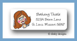 Brown bride return address labels personalized