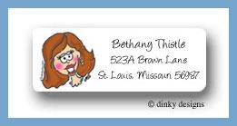 Brown bride return address labels personalized