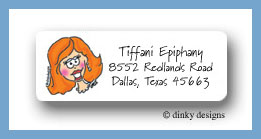 Redheaded bride return address labels personalized