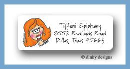 Redheaded bride return address labels personalized