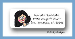 Black headed bride return address labels personalized