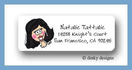 Black headed bride return address labels personalized