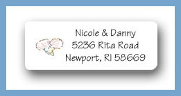 Sandcastle wedding cake shells return address labels personalized
