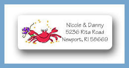 Sandcastle crab return address labels personalized