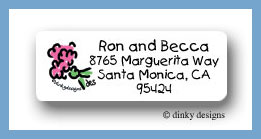 See dick, see jane pink wedding bouquet return address labels personalized