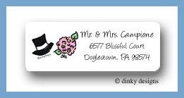Wedding day hat & bouquet return address labels personalized