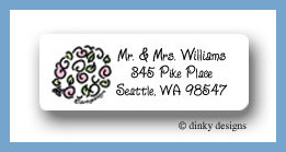 Bridal party white wedding bouquet return address labels personalized
