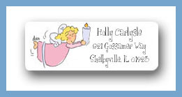 Angel with candle return address labels personalized