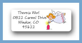 Angel lighting a candle return address labels personalized