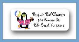 Penguin party return address labels personalized