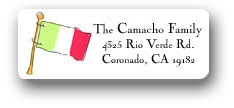 Mexican flag return address labels personalized