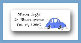 VW blue return address labels personalized