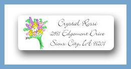 Bouquet of flowers return address labels personalized