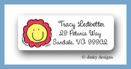 Smiling flower face return address labels personalized