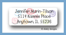 Pastel swirlies return address labels personalized