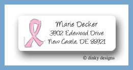 Breast cancer supporter ribbon return address labels personalized