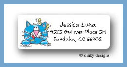 Cat eating canary  return address labels personalized