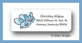 Fuzzy bunny slippers return address labels personalized