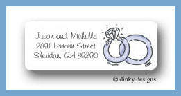 Wedding rings return address labels personalized