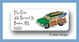 Woody surf return address labels personalized