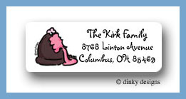 Chocolate truffle pink return address labels personalized