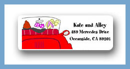 Red convertible return address labels personalized