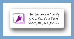Trio of wine items grapes return address labels personalized