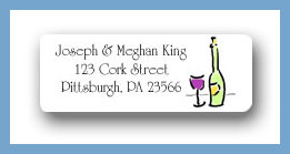 Wine butler wine bottle & glass return address labels personalized