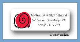 Swirls in red return address labels personalized