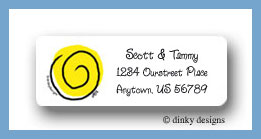 Swirls in yellow return address labels personalized