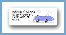 Convertible blue return address labels personalized