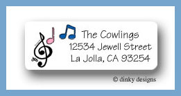 Party tunes return address labels personalized
