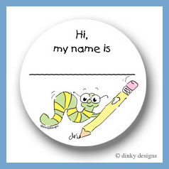 Worm with pencil round stickers 2.5