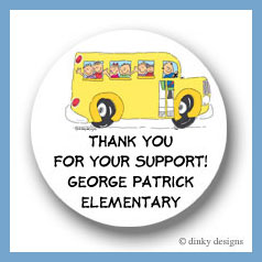 School bus with kids round stickers 2.5