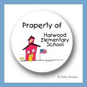 School house round stickers 1.67