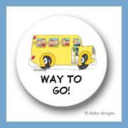 School bus with kids round stickers 1.67
