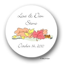 Fall leaves round return address labels personalized 1.67