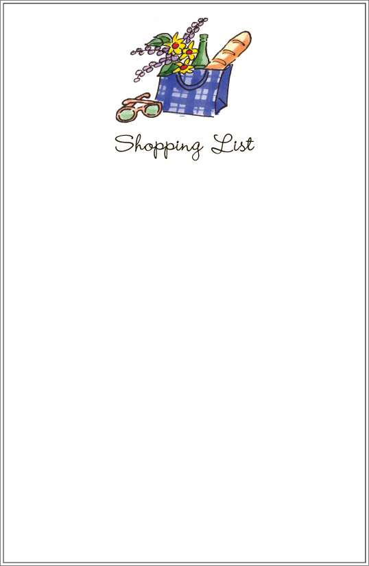 shopping list - groceries notepad or notesheets in acrylic holder, personalized
